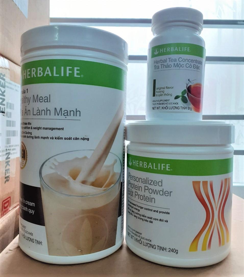 Bộ 3 sản phẩm giảm cân tối ưu Herbalife gồm sữa F1 bữa ăn lành mạnh, bột Protein và trà thảo mộc cô