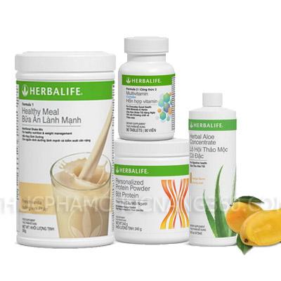 Bộ 4 sản phẩm tăng cân Herbalife - F1, F2, PP Lô hội