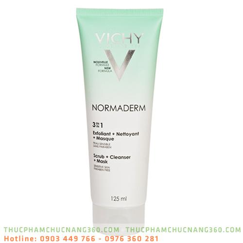 Gel cát tẩy tế bào chết ngăn ngừa mụn 3 tác dụng Vichy Normaderm 125ml