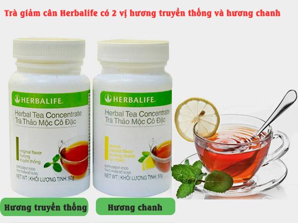 trà thảo mọc giảm cân herbalife có hai hương truyền thống và hương chanh