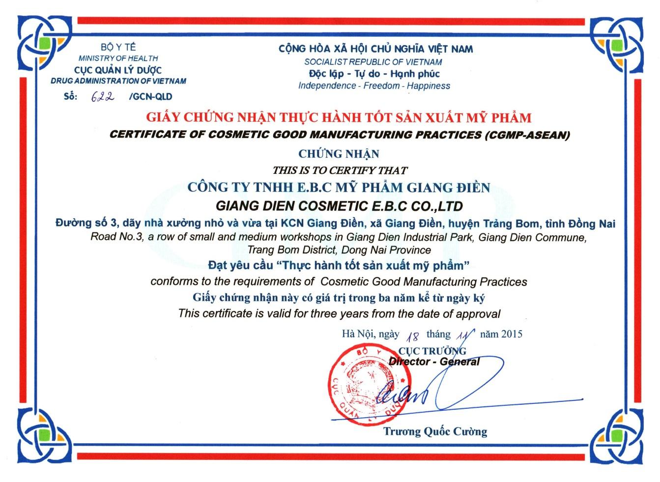 Chứng nhận White Doctors thực hành tốt sản xuất CGMP-ASEAN