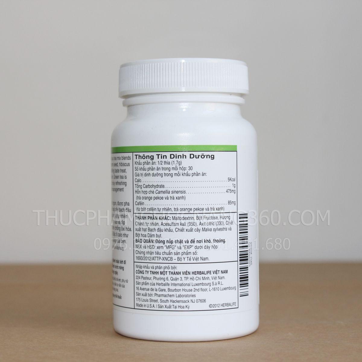 thông tin nhà cung cấp, sản xuất và tiêu chuẩn chứng nhận của bộ y tế của sản phẩm trà thảo mộc cô đặc herbalife hương chanh