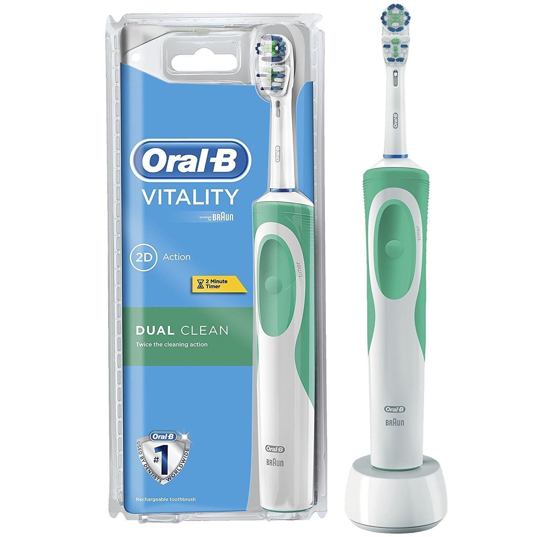 Bàn chải đánh răng điện Oral-B Dual Clean Trắng Xanh